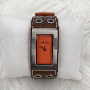 Michael Kors Mk-4023 Orange w leather quartz Watch